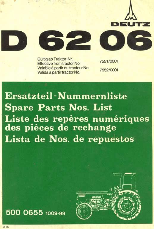 Liste pièces Deutz 6206